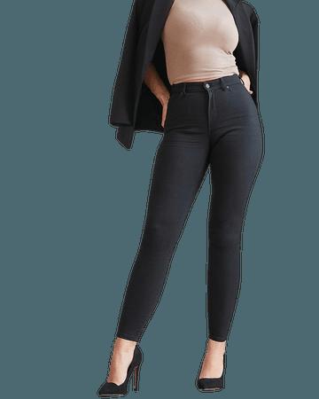High Waisted Black Curvy Skinny Jeans