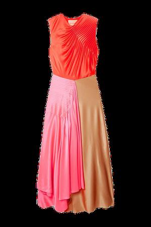 Iris Asymmetric Pintucked Color-block Silk-satin Dress - Pink