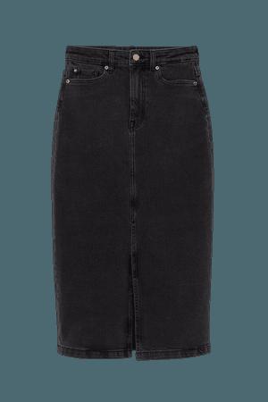 Denim Pencil Skirt - Black
