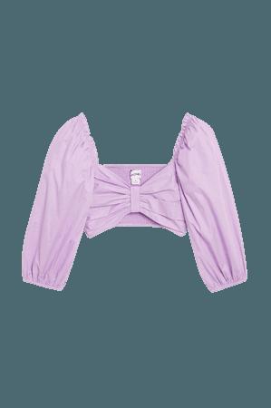 Cropped puff-sleeve blouse - Purple - Shirts & Blouses - Monki WW