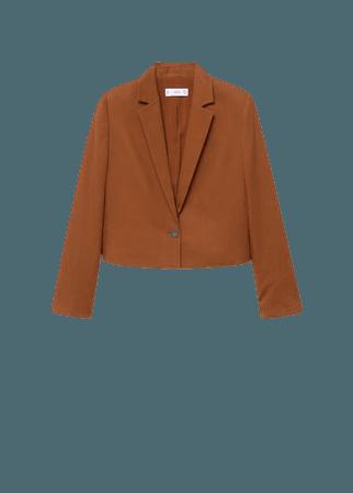 Lyocell crop blazer - Women | Mango USA