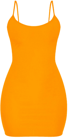 *clipped by @luci-her* Neon Orange Strappy Ribbed Bodycon Dress | PrettyLittleThing USA