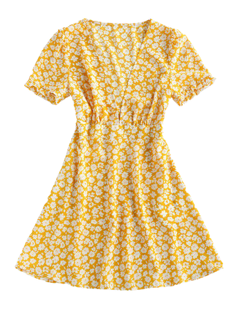 [36% OFF] [HOT] 2020 ZAFUL Ditsy Floral Plunge Frilled Mini Dress In YELLOW   ZAFUL