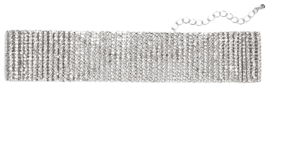Diamante choker necklace - Silver metallic - Necklaces - Monki WW