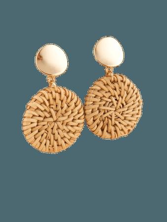 Round Rattan Design Drop Earrings | SHEIN USA