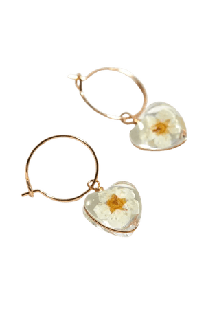 Resin Flower Heart Charm Hoop Earring | Urban Outfitters