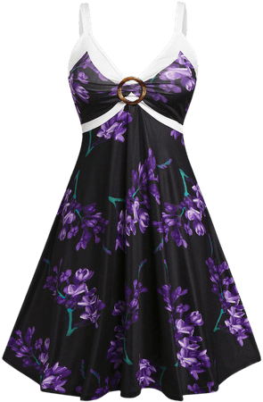 Plus Size Floral Print O Ring Empire Waist Dress [46% OFF]   Rosegal