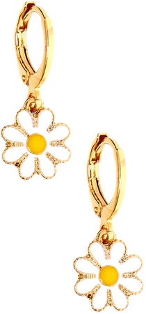 Gold 10MM Daisy Charm Hoop Earrings | Claire's US