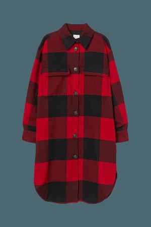 Long Shirt Jacket - Red/black plaid - Ladies   H&M US