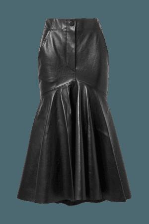 Ryo Leather Midi Skirt - Black