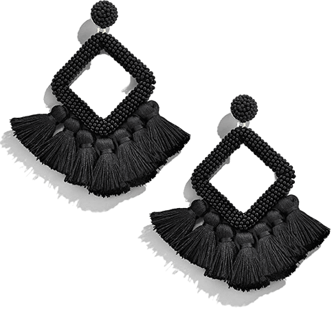 Amazon.com: Black Tassel Earrings Statement Beaded Hoop Fringe Drop Dangle Earrings for Women Bohemian Jewelry for Wedding Bridal Prom Party: Clothing