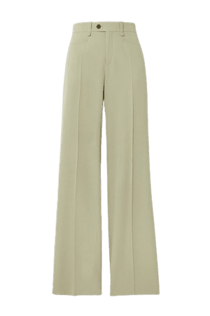 Wool Wide-leg Pants - Green