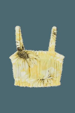 Crop Top - Light yellow/sunflowers - Ladies   H&M US
