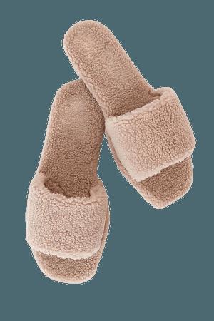 Cute Blush Slippers - Faux Fur Slippers - Slide-On Slippers - Lulus