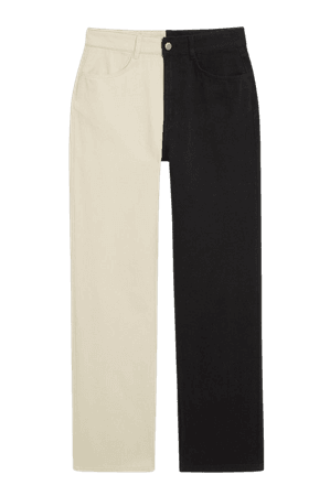 Print straight-leg trousers - Black and white - Trousers - Monki WW