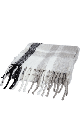 PRETTYLITTLETHING Black And White Check Scarf | PrettyLittleThing USA