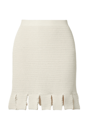 Cream Crocheted cotton-blend mini skirt   Bottega Veneta   NET-A-PORTER