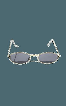 Gold Rim Thin Heaxgon Sunglasses   PrettyLittleThing