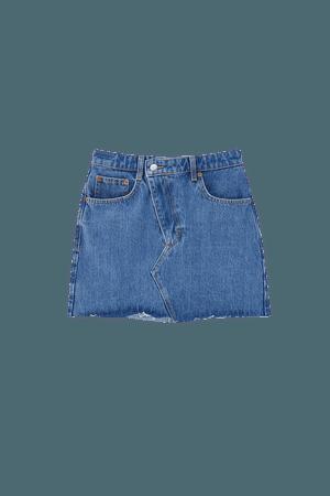 Denim mini skirt with crossed hem - pull&bear