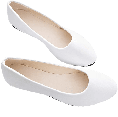Amazon.com | Stunner Women Cute Slip-On Ballet Shoes Soft Solid Classic Pointed Toe Flats White 40 | Flats