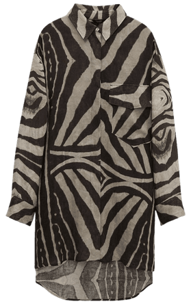 Linen zebra print shirt - Women - Massimo Dutti