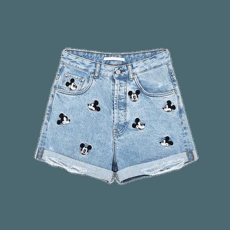 Zara Shorts | Disney Mickey Mouse Denim | Poshmark