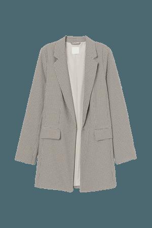 Long Jacket - Beige/black checked - Ladies   H&M US