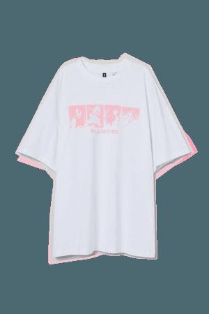 Oversized Printed T-shirt - White/Blackpink - Ladies   H&M US