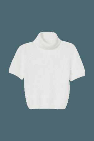 Fluffy Turtleneck Sweater - White - Ladies | H&M US