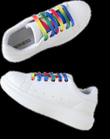White Sneakers - Platform Sneakers - Rainbow Lace Sneakers - Lulus