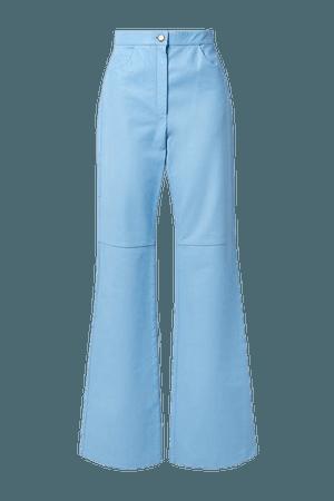 Leather Straight-leg Pants - Light blue