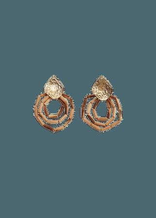 Wood hoop earrings - Plus sizes | Violeta by Mango Slovakia