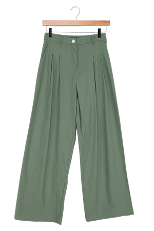 Sage Green Pants - High Waisted Trousers - Wide-Leg Pants - Lulus