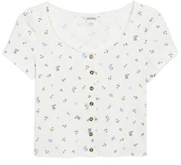 Cropped button-up top - White with blue flowers - Tops - Monki WW