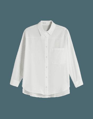 Oversize long sleeve shirt with pocket - Shirts - Woman   Bershka