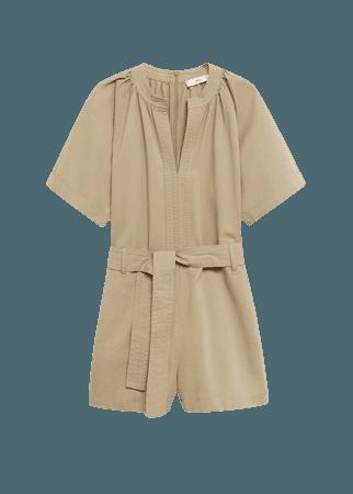 Belted cotton jumpsuit - Women   Mango USA