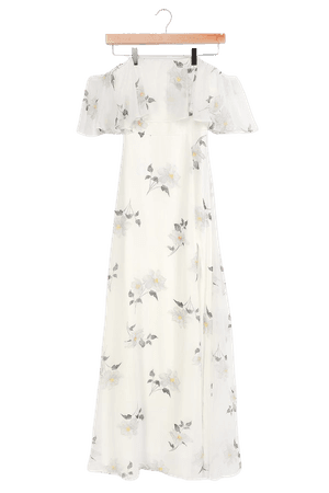 White Maxi Dress - Floral Print Dress - Off-the-Shoulder Dress - Lulus