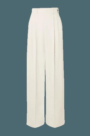 Liezl Pleated Twill Straight-leg Pants - White