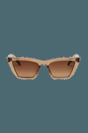 Square cat-eye sunglasses - Brown - Sunglasses - Monki WW
