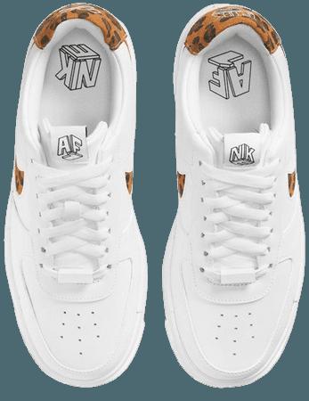 Nike Air Force 1 Pixel leopard print sneakers in white   ASOS