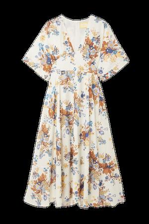 White Ischia floral-print linen and cotton-blend midi dress   Erdem   NET-A-PORTER
