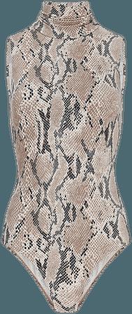 Snakeskin Sleeveless Mock Neck Thong Bodysuit   Express
