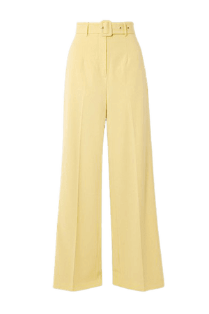 Lily Belted Woven Wide-leg Pants - Pastel yellow