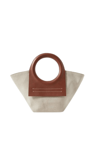 Cala Mini Leather-trimmed Canvas Tote - Brown