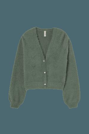 Fluffy Cardigan - Green - Ladies | H&M US