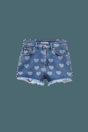 Denim shorts with hearts - pull&bear