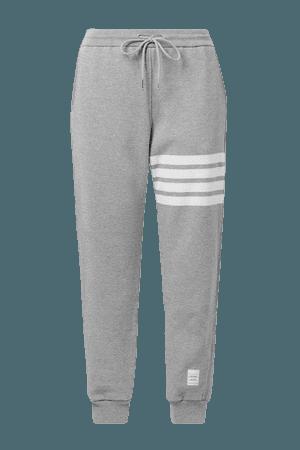 Striped Melange Cotton-jersey Track Pants - Gray
