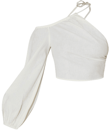 Cream Linen Ruched One Shoulder Cut Out Crop Top | PrettyLittleThing USA
