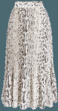 Animal-print pleated midi skirt