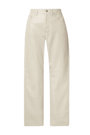 Cream Vinni cropped vegan leather pants   Nanushka   NET-A-PORTER
